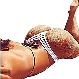 URSING_Damen Sexy Bottoms/Frauen Bikini Unterteil Criss Cross Bottom/Vintage Tanga Bikinihose String Weave Bandage Rüschen Brazilian Badeslip/Höschen Badeshorts Vintage Schwimmshorts (L, Weiß)