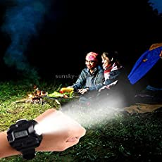 Lista Multi-Functional Rechargeable LED Flashlight Watch with Compass & Red Laser Torch Camping Multi pupose