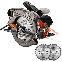 Scie Circulaire au Laser 1500W 4500RPM/ 2 Lames(40T&24T)/ Tacklife PES01A Profondeur de Coupe (0-63mm), Inclinaison de Coupe à 45°(0-45 mm)/ avec Souffleur de Poudre, Clé Allen, Guide Parallèle