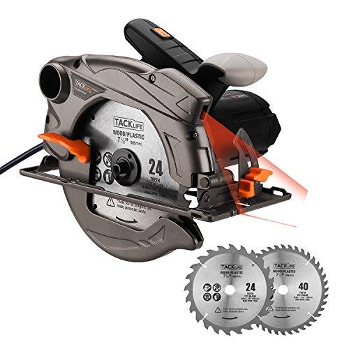 Scie Circulaire au Laser 1500W 4500RPM/ 2 Lames(40T&24T)/ Tacklife PES01A Profondeur de Coupe (0-63mm), Inclinaison de Coupe à...