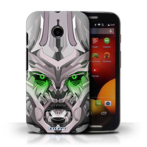 Kobalt® Imprimé Etui / Coque pour Motorola Moto E (2014) / Mega-Bot Vert conception / Série Robots Mega-Bot Vert