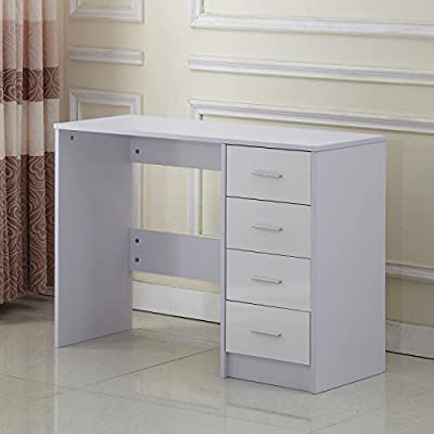 Homcom High Gloss Vanity Dressing Table 4 Drawer Computer PC Study Desk Office Furniture White
