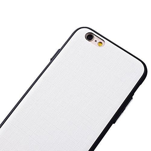 WE LOVE CASE iPhone 6 / 6s Hülle Weich Silikon iPhone 6 6s Schutzhülle Handyhülle Im Retro Style Einfache Farbe Furnier Hell Braun Muster Handytasche Cover Case Etui Soft TPU Handy Tasche Schale Schla Weiß