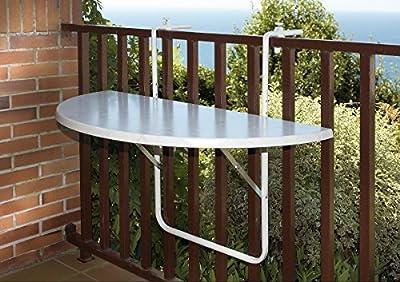 Luxus Balkonhängetisch 100x50 cm, weiße Melaminplatte, 581086