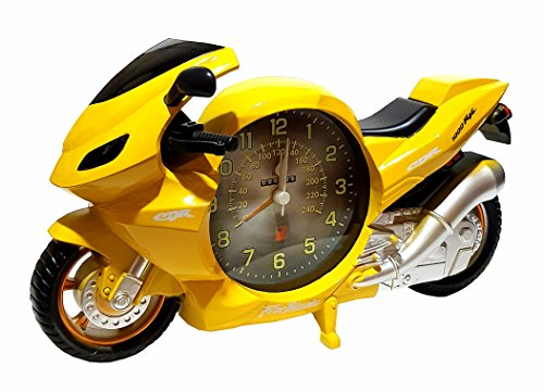 Modellnummer: PF6006A Motorrad Bike Biker Uhr Wecker Motorraduhr Motorradwecker Quarzuhr Quarzlaufwerk Gelb Neu