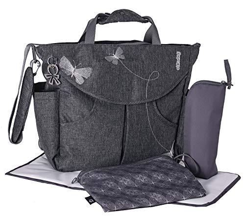 okiedog SUMO 36011 flexible Wickeltasche mit Henkel, Schultergurt, Rucksack, Kinderwagenhaken, Wickelunterlage, isol. Flaschenhalter und Zubehörbeutel, Papillon grau, ca. 47 x 40 x 14 cm