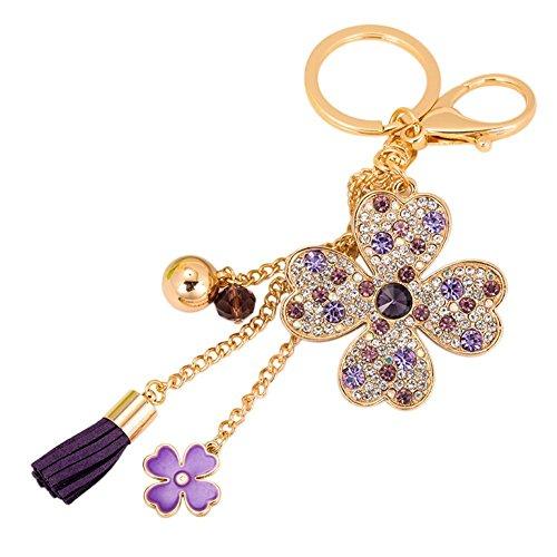 BIGBOBA Glück Vier Leaf Clover Schlüsselanhänger, Schlüsselanhänger mit Anhänger Schlüsselanhänger Handtasche Kfz-Dekoration, Lila -