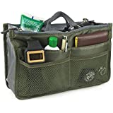 """Hoxis Nylon Purse Insert Organizer 13 Pockets Comestic Gadget Organiser Expandable, with Handles 10.6"""" X 6.3"""" Bag in Bag"""