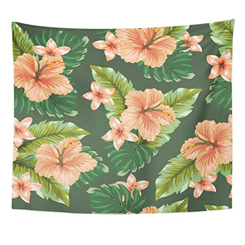 Tapestry Blue Floral Tender Hawaiian Flowers on Dark Colorful Vintage Home Decor Wall Hanging for...