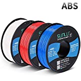 SUNLU ABS Filament 1.75mm for FDM 3D Printer, 3KG(6.6LBS) ABS 3D Filament Accuracy +/- 0.02 mm, White+Red+Blue