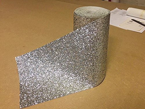 YourSecretGift Silver chunky glitter 15cm wallpaper border grade 3 sold by metre fabric bling Test