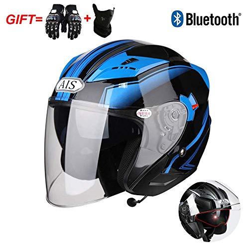 LSLVKEN Certificazione Prick Test Casco modulare per Moto Bluetooth Integrato DOT: Casco del Motociclo 3/4, Bluetooth + FM,B,XL