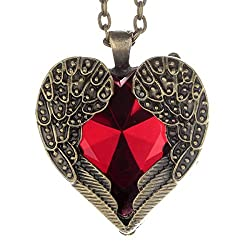 Sorella'z Red Heart Vintage Cinderella Pendant with Chain for Girl's