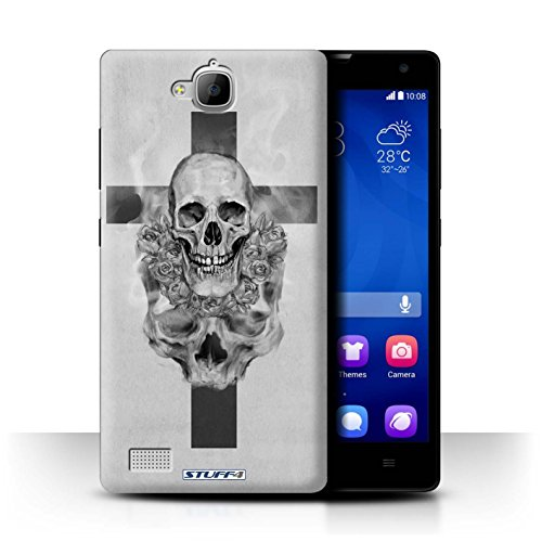 Stuff4® Hülle/Case für Huawei Honor 3C / Kruzifix Muster/Schädel Kunst Skizzieren Kollektion