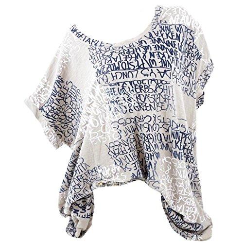 OverDose Damen Blumen Spitze Tops Frauen Kurzarm V-Ausschnitt Spitze Gedruckte Lose T-Shirt Bluse Oberteile Tees Shirt(Y-Türkis,S) (Pullover Schulter Tunika)