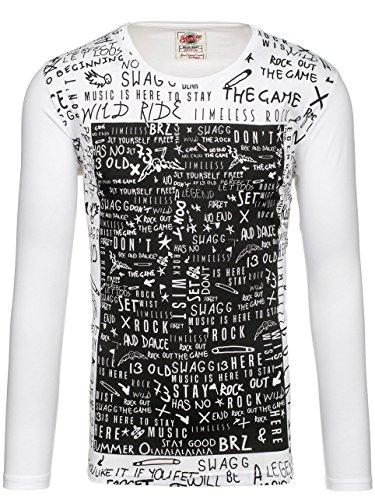 BOLF – Sweat-shirt – Manches longues – U-neck – BREEZY 9108 – Homme Blanc