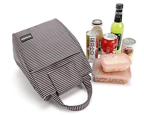 9L Stripe canvas Tote pranzo isolata Resuable Bento lunch box bag Cooler con velcro per picnic scuola lavoro viaggi Red Black