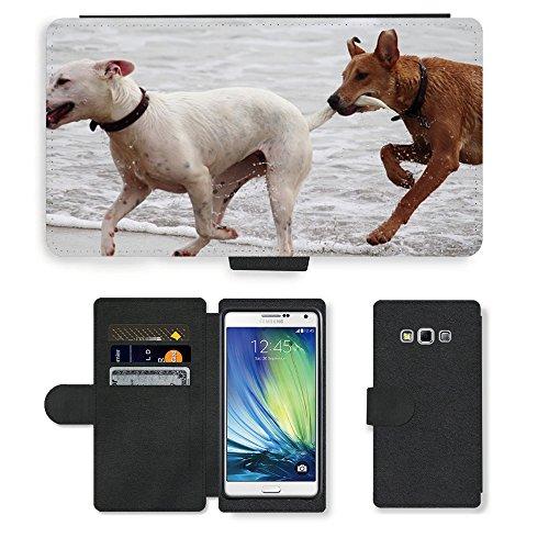 Just Phone Cases PU LEDER LEATHER FLIP CASE COVER HÜLLE ETUI TASCHE SCHALE // M00421764 Hunde Stöckchen zu spielen Beißen Romp // Samsung Galaxy A7 (not fit S7)