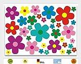 "Aufkleber Set ""Blumen Blümchen, bunt"", Art. Nr. kfz_156 | Farbtöne: grün, rot, gelb, lila, rosa, blau | für Auto, Moped, Mofa, Roller, Laptop, Küche, Bad usw."