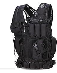 Viktion - Gilet tactique Veste tactique zippé Fournitures police et les militaires, engins tactiques, équipement de plein air pour camping randonnée armée Jungle Adventure alpinisme