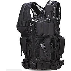 Viktion - Gilet tactique Veste tactique Fournitures police et les militaires, engins tactiques, équipement de plein air pour camping randonnée armée Jungle Adventure alpinisme (Noir)