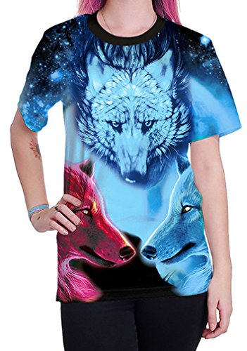 Belsen Damen Blusenbody T-Shirt, Animalprint Wolf Medium Star wolf