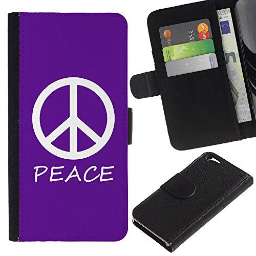 Graphic4You Peace Sign Friedenszeichen Design Brieftasche Leder Hülle Case Schutzhülle für Apple iPhone 6 / 6S (Neon Rosa) Lila