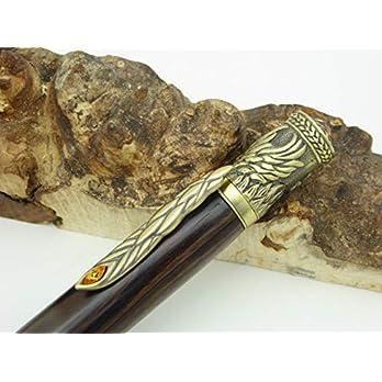 Schreibgerät-Unikat-Kugelschreiber Phoenix Twist Pen Antik Messing Palisander