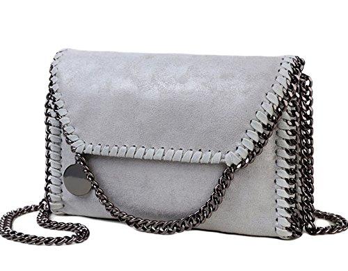 Rovanci Damen Handtasche Elegant Tote Handtasche Taschen Damen Shopper Schultertasche Grau