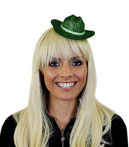 ILOVEFANCYDRESS GLITZER COWBOY FACINATOR HUT IN GRÜN MIT BEFESTIGUNGS KLAMMERN TOLLES ZUBEHÖR FÜR JEDE PARTY ODER FASCHING UND SILVESTER=1 GRÜNER COWBOY FASCINATOR (In Halloween-kostüme Dallas)
