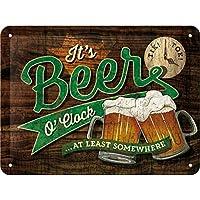 Nostalgic-Art Cartel de Chapa Retro Beer O\' Clock Glasses – Idea de Regalo para los Aficionados a la Cerveza, metálico, Diseño Vintage, 15 x 20 cm