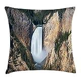 ABAKUHAUS Wyoming Copricuscino, Gran Canyon di Yellowstone, Personalizzato Stampa Digitale Lavabile, 60 x 60 cm, Scuro Marrone Sabbia Cacciatore Verde E Bianco