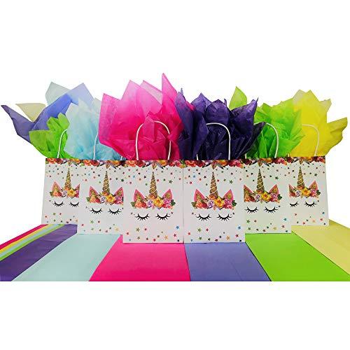 inhorn für Partytüten zum Geburtstag, für Leckereien, Süßigkeiten, mit Regenbogen-Teifenpapier, 6 Tüten / 12 Stück Seidenpapier ()