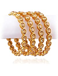 Chinar Golden White Stone Bangle, Set Of Four Bangles For Girls And Women.