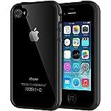 JETech Funda Compatible iPhone 4s y iPhone 4, Carcasa Anti-Choques y Anti-Arañazos, Espalda Transparente, Negro