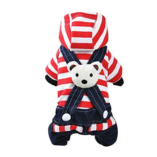 (Kayi Denim Dog Dress/Jumpsuits gestreift Bib Cowboy Kleidung Bear Bib Dog Apparel)