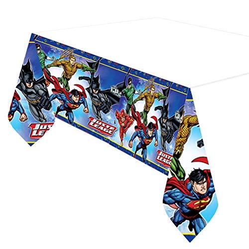 51hmAYNmqNL - Justice League Party DC Suministros Niños Fiesta de cumpleaños Vajilla Platos Tazas Servilletas Mantel con Paquete de Globos Gratis y Velas para 16 Invitados