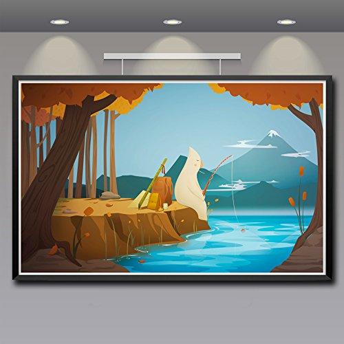 baodanla Kein Rahmen Angeln Wald See Minimalismus Fantasie Kunst Seide Poster Wohnkultur ng Zoll Und Shi50x70cm