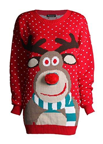 Fast Fashion - Noël Pulls Rudolph Imprimé 3d Nez Pom Pom - Femmes Unisexe Fast Fashion