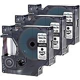 Wonfoucs 3x Cintas de Etiquetado Compatible para DYMO D1 45020 (Blanco sobre Transparente, 12mmx 7m) - para Dymo LM 100 160 210D 360D 420P 450D PnP LW 450 DUO, etc.