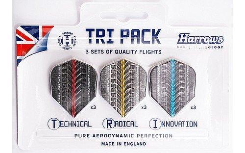 Tri Pack-3 Stück (Harrows Tri-Pack - Supergrip Flights, 3 Sets = 9 Stück)