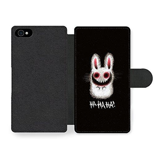 Rabbit Funny Evil Funny Halloween Illustration HAHAHA! Faux Ledertasche Hülle füriPhone 4 4S (Halloween Faux Une)
