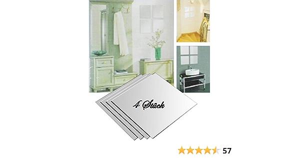 4 Stück Spiegelfliesen Klebespiegel Spiegelkacheln 30 x 30 cm 4-tlg Spiegel Set