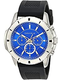 Caravelle Men's Quartz Stainless Steel and Silicone Watch, Color Black (Model: 43A146)
