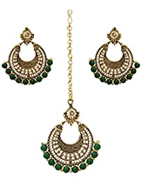 56bd7783f Nishivjewels green emerald traditional chandbali earrings and maang tika  for women