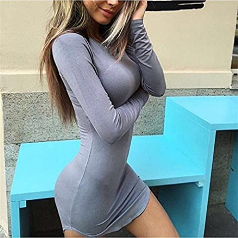 XJoel Las mujeres nuevo atractivo corto irregular mini falda del vestido de partido apretado de manga larga