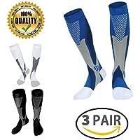 LJ Sport, calze unisex a compressione graduata da 20–30 mmHg, adatte a corridori, infermieri, viaggiatori, insegnanti, maternità, allenamento, per uso medico in caso di periostite tibiale e viaggi aerei lunghi, Uomo, Black+White+Blue, L/XL