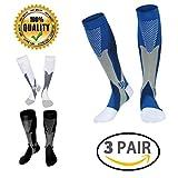 LJ Sport calze unisex a compressione da adatte a corridori infermieri viaggiatori insegnanti maternit allenamento per uso medico (Black+White+Blue, L/XL)