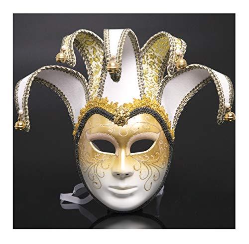 WFTD Gemalte Tanzmaske der römischen Masken-Frauen verfügbar in 8 Farben geeignet für Maskerade-Party-Performance-Festival-Karneval, Einheitsgröße,White