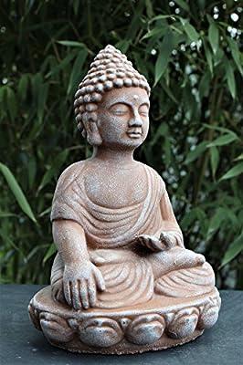 Buddha Figur , Deko Statue frostsicher und wetterbeständig für Haus und Garten, Steinfigur hergestellt in Deutschland von Tiefes GbR - Du und dein Garten